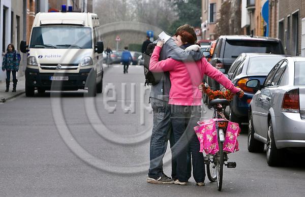 HEVERLEE - BELGIUM - 14 March 2012 -- Belgian school bus accident in Switzerland. -- At the Sint-Lambertus School in Heverlee (Leuven) people were comforting eachother. -- PHOTO: Juha ROININEN /  EUP-IMAGES