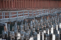 Old docks, cribbing and pilings along Marquette Michigan's historic Lake Superior waterfront.