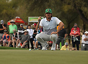 January 31st 2019, Scotsdale, Arizona, USA; Aaron Baddeley lines up his putt on the 9th green during the first round of the Waste Management Phoenix Open