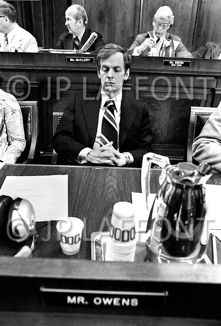 Washington DC,,1973. The House Judiciary Committee listens to Nixon taps during Watergate Hearings (Wayne Owens (D-Utah) ). A break in at the Democratic National Committee headquarters at the Watergate complex on June 17, 1972 results in one of the biggest political scandals the US government has ever seen.  Effects of the scandal ultimately led to the resignation of  President Richard Nixon, on August 9, 1974, the first and only resignation of any U.S. President.