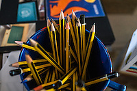 Wooden pencils in a plastic jug in the Nala Designs' TH.inc Academy in Bangsar, Kuala Lumpur, Malaysia, on 18 August 2015. Nala Designs, by founder and designer Lisette Scheers, is inspired by Malaysia's melting pot of Chinese, Malay and Indian cultures. Photo by Suzanne Lee for Monocle