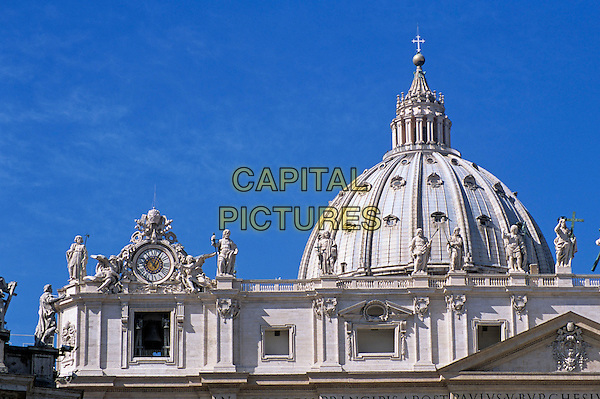 Saint Peter?s Basilica clock tower and dome, Saint Peter?s Square, Piazza San Pietro, Rome, Italy