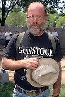 Protester wearing a Gunstock t-shirt at a Pro-Gun Second Amendment Rally on the Mall in Washington D.C.