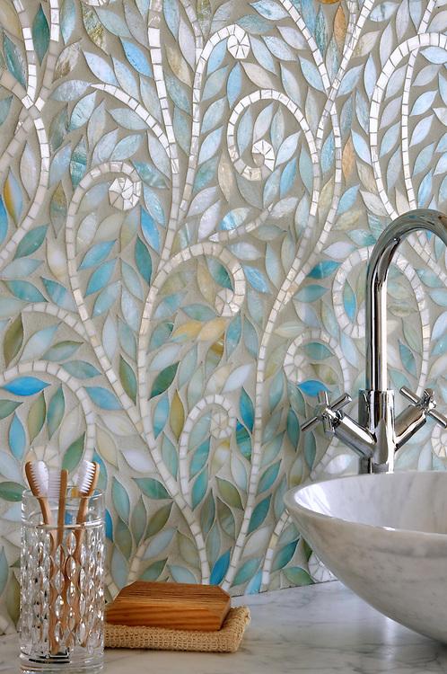 Climbing Vine, a handmade mosaic, is shown Aquamarine and Quartz jewel glass.<br /> <br /> For pricing samples and design help, click here: http://www.newravenna.com/showrooms/