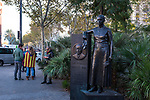 Statue of Lluis Companys, near Arc de Triomf, Barcelona. Companys was the President of Catalonia (Spain), from 1934 and during the Spanish Civil War. Exiled after the war, he was captured  executed by firing squad in 1940, on the orders of the dictator Franco. <br /> <br /> More than 750,000 people crowd onto Carrer de La Marina, Barcelona, to protest the jailing of Catalan government ministers and civil society leaders on Saturday November 11, 2017.