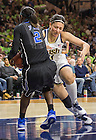 Feb. 21, 2014; Forward Natalie Achonwa battles for the rebound against Duke guard Alexis Jones during the second half. Notre Dame won 81 to 70. Photo by Barbara Johnston/University of Notre Dame