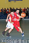 Daniel OCulhane Teams Garveys in action with blue demon player Daniel O'Mahony in the Division One Men's National League Basketball on Saturday evening at Catleisland Community Centre.