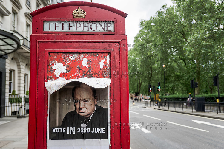 A poster with Sir Winston Churchill, founder of the European union, pro vote IN 23d june. London City before the Brexit Referendum, on june, 2016. Photo: Adamo Di Loreto/buenaVista*photo