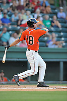 Left fielder Austen Smith (18) of the Greensboro Grasshoppers bats in a game against the Greenville Drive on Tuesday, August 25, 2015, at Fluor Field at the West End in Greenville, South Carolina. Greenville won, 7-0. (Tom Priddy/Four Seam Images)