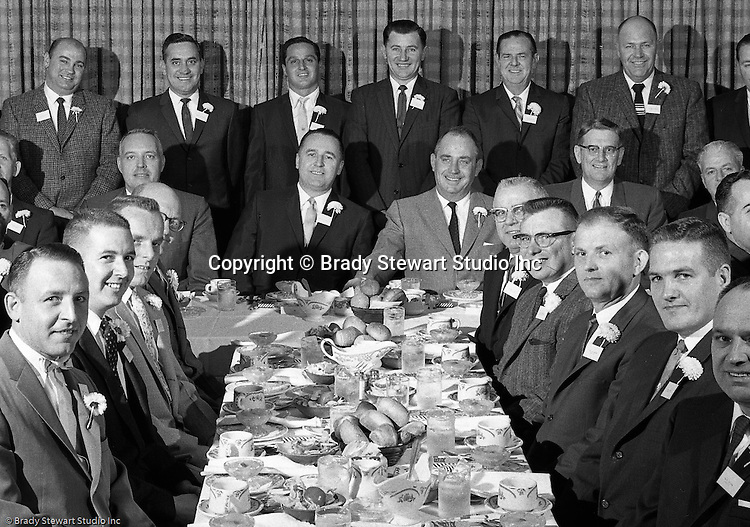 Pittsburgh PA:  View of Oscar and Thomas Otto at an awards dinner & company meeting - 1961.  Meeting was held at the Ankara Restaurant.