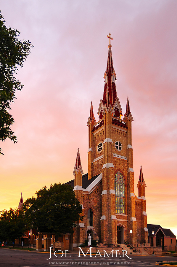 St. Mark's Catholic Church in Shakopee, Minnesota at sunset.
