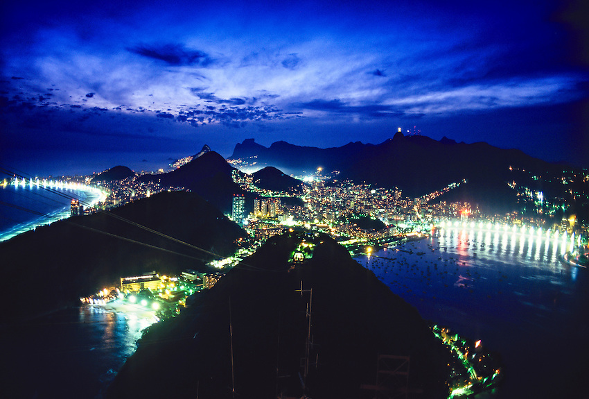View from Sugarloaf (Urca Mountain) at twilight, Rio de Janeiro, Brazil