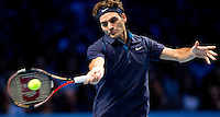 Roger Federer (SUI) (4) against David Ferrer (ESP) (5)  in the semi-finals of the Barclays ATP World Tour Finals...@AMN IMAGES, Frey, Advantage Media Network, Level 1, Barry House, 20-22 Worple Road, London, SW19 4DH.Tel - +44 208 947 0100.email - mfrey@advantagemedianet.com.www.amnimages.photoshelter.com.