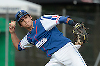 30 july 2010: Maxime Lefevre of France throws the ball to first base during Sweden 3-2 win over France, in day 6 of the 2010 European Championship Seniors, at TV Cannstatt ballpark, in Stuttgart, Germany.