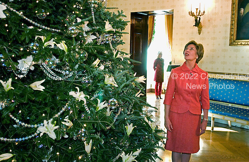 Washington, D.C. - November 30, 2005 -- First lady Laura Bush shows off the White House Christmas tree in the Blue room of the White House in Washington, D.C. on November 30, 2005..Credit: Ron Sachs - Pool