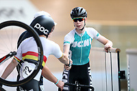 Patrick Clancy (L) of Waikato BOP and Michael Richmond of West Coast North Island after competing in the U17 Boys Sprint race  at the Age Group Track National Championships, Avantidrome, Home of Cycling, Cambridge, New Zealand, Friday, March 17, 2017. Mandatory Credit: © Dianne Manson/CyclingNZ  **NO ARCHIVING**