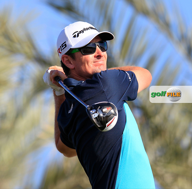 Justin Rose (ENG) tees off the 11th tee during Thursday's Round 2 of the 2015 Commercial Bank Qatar Masters held at Doha Golf Club, Doha, Qatar.: Picture Eoin Clarke, www.golffile.ie: 1/22/2015
