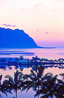 Heeia fishpond with Chinaman's Hat at sunrise, Oahu