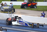 May 21, 2016; Topeka, KS, USA; NHRA top fuel driver Terry Haddock during qualifying for the Kansas Nationals at Heartland Park Topeka. Mandatory Credit: Mark J. Rebilas-USA TODAY Sports