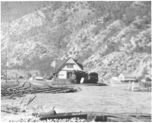 Flood of 1921 near depot with isolated engines.<br /> D&amp;RG  Lake City, CO  1921