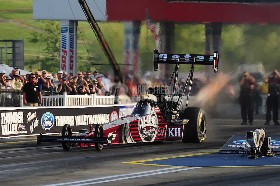 Jun. 17, 2011; Bristol, TN, USA: NHRA top fuel driver Larry Dixon during qualifying for the Thunder Valley Nationals at Bristol Dragway. Mandatory Credit: Mark J. Rebilas-