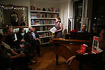 Caitlin Kinnunen, Matthew Sklar and Chad Beguelin attends the Dramatists Guild Fund Salon with Matthew Sklar and Chad Beguelin at the home of Gretchen Cryer on December 8, 2016 in New York City.
