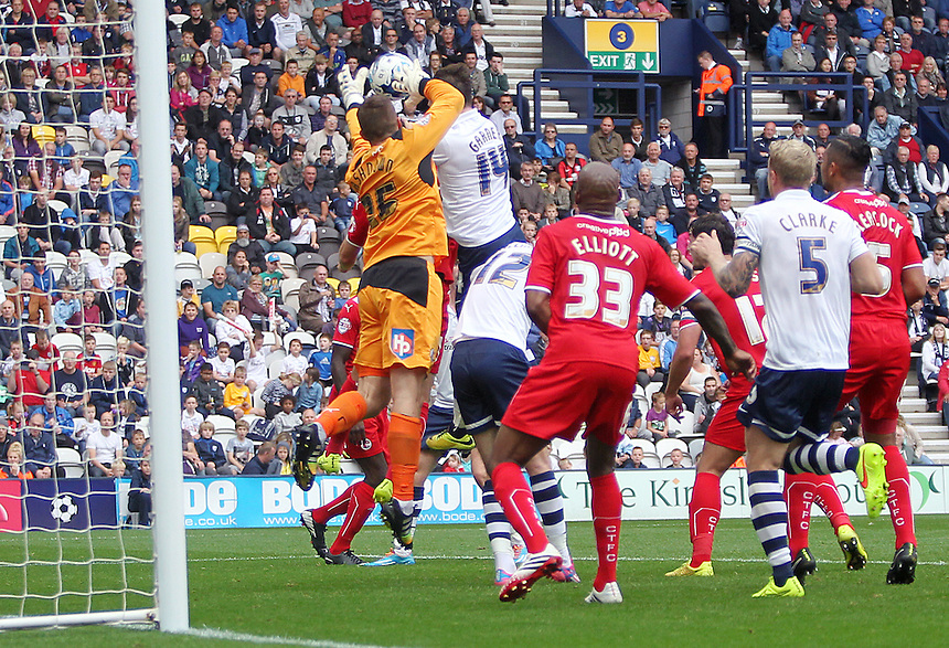 Preston North End's Joe Garner headed goal in the first half was dis-allowed<br /> Photographer Rich Linley/CameraSport<br /> <br /> Football - The Football League Sky Bet League One - Preston North End v Crawley Town - Saturday 20th September 2014 - Deepdale - Preston<br /> <br /> &copy; CameraSport - 43 Linden Ave. Countesthorpe. Leicester. England. LE8 5PG - Tel: +44 (0) 116 277 4147 - admin@camerasport.com - www.camerasport.com