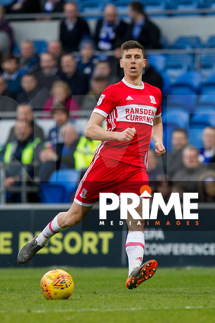 Daniel Ayala of Middlesbrough during the Sky Bet Championship match between Cardiff City and Middlesbrough at the Cardiff City Stadium, Cardiff, Wales on 17 February 2018. Photo by Mark Hawkins / PRiME Media Images.
