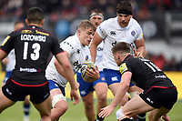 Tom Ellis of Bath Rugby takes on the Saracens defence. Aviva Premiership match, between Saracens and Bath Rugby on April 15, 2018 at Allianz Park in London, England. Photo by: Patrick Khachfe / Onside Images