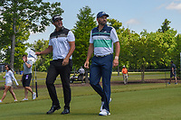 Scott Piercy (USA) and Sergio Garcia (ESP) look over the leaderboard as they head down 3 during Round 1 of the Zurich Classic of New Orl, TPC Louisiana, Avondale, Louisiana, USA. 4/26/2018.<br /> Picture: Golffile | Ken Murray<br /> <br /> <br /> All photo usage must carry mandatory copyright credit (&copy; Golffile | Ken Murray)