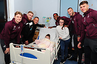 Pictured: (L-R) George Byers, Oli McBurnie, Lee Trundle, Leroy Fer,Mike van der Hoorn and Joe Rodon of Swansea City visit children at Morriston Hospital, Swansea, Wales, UK. <br /> Tuesday 18 December 2018<br /> Re: Swansea City players visit children at Morriston Hospital