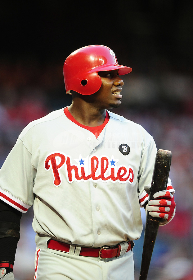 Apr. 25, 2011; Phoenix, AZ, USA; Philadelphia Phillies first baseman Ryan Howard against the Arizona Diamondbacks at Chase Field. Mandatory Credit: Mark J. Rebilas-