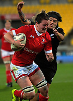 Jacey Grusnick heads for the tryline during the 2017 International Women's Rugby Series rugby match between the NZ Black Ferns and Canada at Westpac Stadium in Wellington, New Zealand on Friday, 9 June 2017. Photo: Dave Lintott / lintottphoto.co.nz
