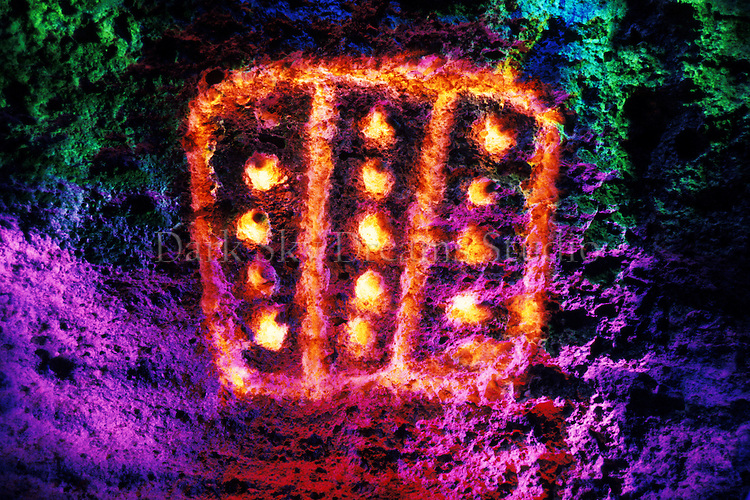 Ancient petroglyphs painted with light in the Volcanic Tablelands, near Bishop, California