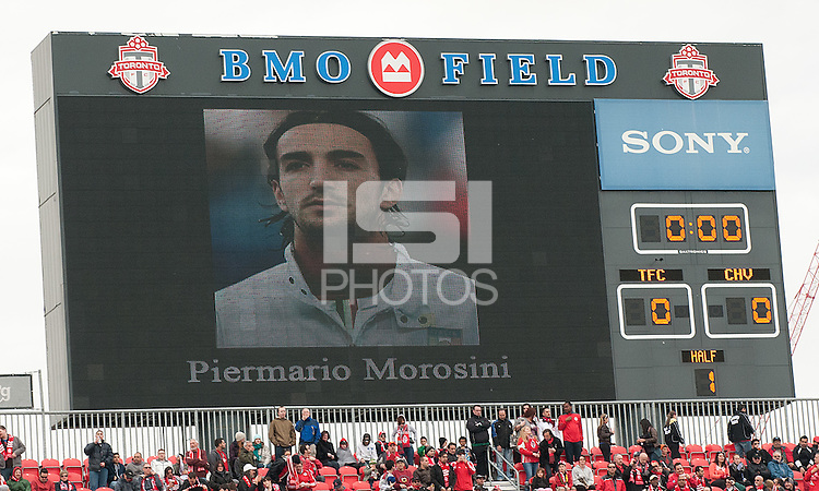 14 April 2012: BMO Field observes a moment of silence for International soccer  player Piermario Morosini of Livorno after he collapsed of a suspected heart attack during an Italian second division game at Pescara on Saturday in a game between Chivas USA and Toronto FC at BMO Field in Toronto..Chivas USA won 1-0..