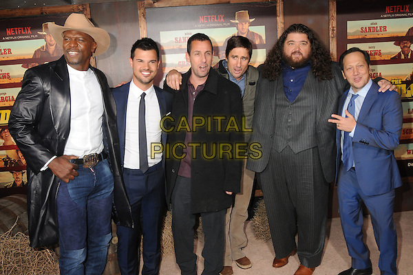 30 November 2015 - Universal City, California - Terry Crews, Taylor Lautner, Adam Sandler, Luke Wilson, Jorge Garcia, Rob Schneider. &quot;The Ridiculous 6&quot; Los Angeles Premiere held at the AMC Universal CityWalk Stadium 19. <br /> CAP/ADM/BP<br /> &copy;BP/ADM/Capital Pictures