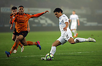 Pictured: Jefferson Montero of Swansea City crosses the ball Monday 13 March 2017<br /> Re: Premier League 2, Swansea City U23 v Wolverhampton Wanderers FC at the Liberty Stadium, Swansea, UK