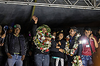 La Paz, Bolivia<br /> Thursday November 14, 2019.<br /> Franclin Gutierrez, (center), leader of the coca growers from the Yungas celebrates with his family and other coca growers in La Paz after he had been release from prison after 15 moths.  After the October 20 presidential elections and resignation of President Evo Morales, there is a lot of protests in many regions of Bolivia.