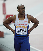 James DASAOLU of GBR of finishing 5th in Heat 2 (10.12) during the Sainsburys Anniversary Games at the Olympic Park, London, England on 24 July 2015. Photo by Andy Rowland.