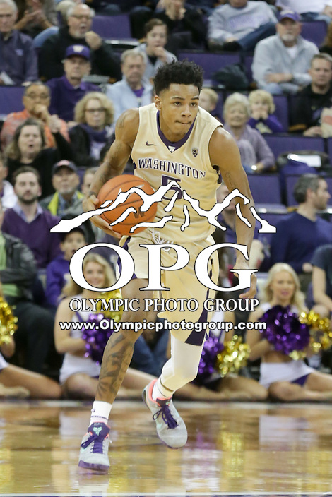 DEC 19, 2015:  Washington's Dejounte Murray against Oakland.  Oakland defeated Washington 97-83 at Alaska Airlines Arena in Seattle, WA.