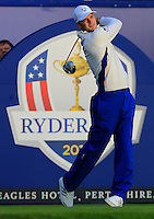 Martin Kaymer (EUR) on the 1st tee during the Saturday Fourball Matches of the Ryder Cup at Gleneagles Golf Club on Saturday 27th September 2014.<br /> Picture:  Thos Caffrey / www.golffile.ie