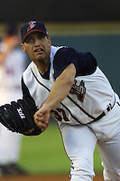 Houston Astros pitcher Andy Pettitte (37) warms up before his second rehab start with the Round Rock Express of the Texas League on June 23, 2004 at the Dell Diamond in Round Rock, Texas. (Andrew Woolley/Four Seam Images)