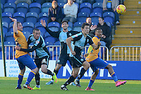 Wycombe Wanderers Luke O'Nien breaks with the ball as a Mansfield Town attack is broken up during the Sky Bet League 2 match between Mansfield Town and Wycombe Wanderers at the One Call Stadium, Mansfield, England on 31 October 2015. Photo by Garry Griffiths.