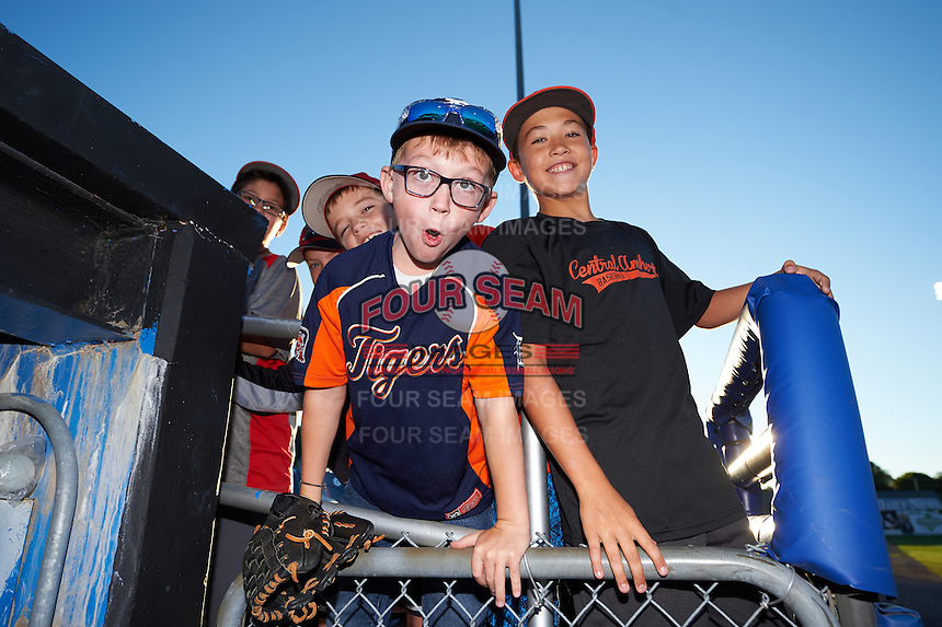 Young Batavia Muckdogs fans trying to get a ball before a game against the Williamsport Crosscutters on September 1, 2016 at Dwyer Stadium in Batavia, New York.  Williamsport defeated Batavia 10-3. (Mike Janes/Four Seam Images)