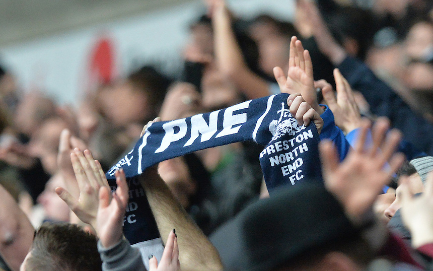 A PNE scarf in the crowd<br /> <br /> Photographer Dave Howarth/CameraSport<br /> <br /> Football - The Football League Sky Bet Championship - Bolton Wanderers v Preston North End - Saturday 12th March 2016 - Macron Stadium - Bolton <br /> <br /> &copy; CameraSport - 43 Linden Ave. Countesthorpe. Leicester. England. LE8 5PG - Tel: +44 (0) 116 277 4147 - admin@camerasport.com - www.camerasport.com
