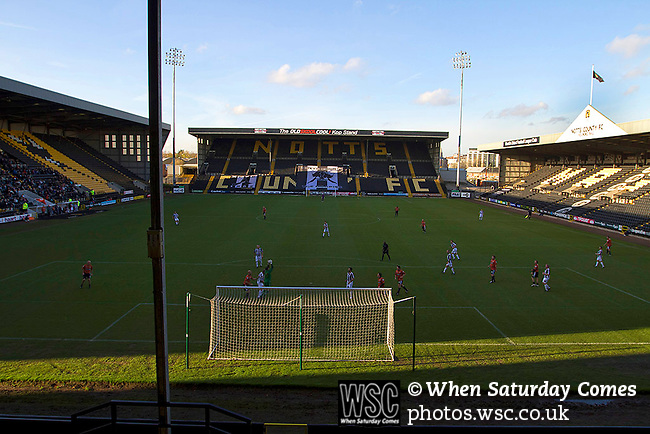 Notts County 150th Anniversary, 18/11/2012. Meadow Lane. Meadow Lane, home of Notts County FC pictured during a special Legends Day match marking the club's 150th anniversary. The day-long event featured autograph signing by past and present players, a game between two teams of former players and a screening of a film entitled 'Notts County - the Movie' on a giant inflatable screen. The club were founder members of the Football League in England and call themselves 'the world's oldest Football League club'. Photo by Colin McPherson.