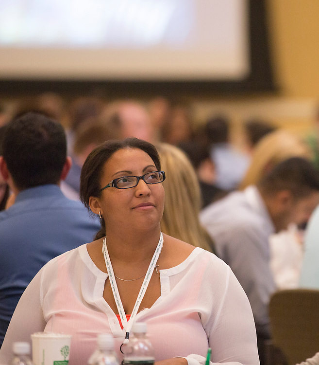 Brittany Simen, an attendee of the Leadership Development Program event, listens to Patrick Donadio present in Baker Ballroom on August 26, 2016. Photo by Emily Matthews