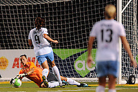 Chicago Red Stars goalkeeper Jillian Loyden (1) makes a save. The Philadelphia Independence defeated the Chicago Red Stars 3-0 during a Women's Professional Soccer (WPS) match at John A. Farrell Stadium in West Chester, PA, on July 28, 2010.