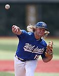 Western Nevada College Wildcats' Rayne Raven pitches in a college baseball game against Colorado Northwestern at John L. Harvey Field in Carson City, Nev., on Friday, April 11, 2014. <br /> Photo by Cathleen Allison/Nevada Photo Source