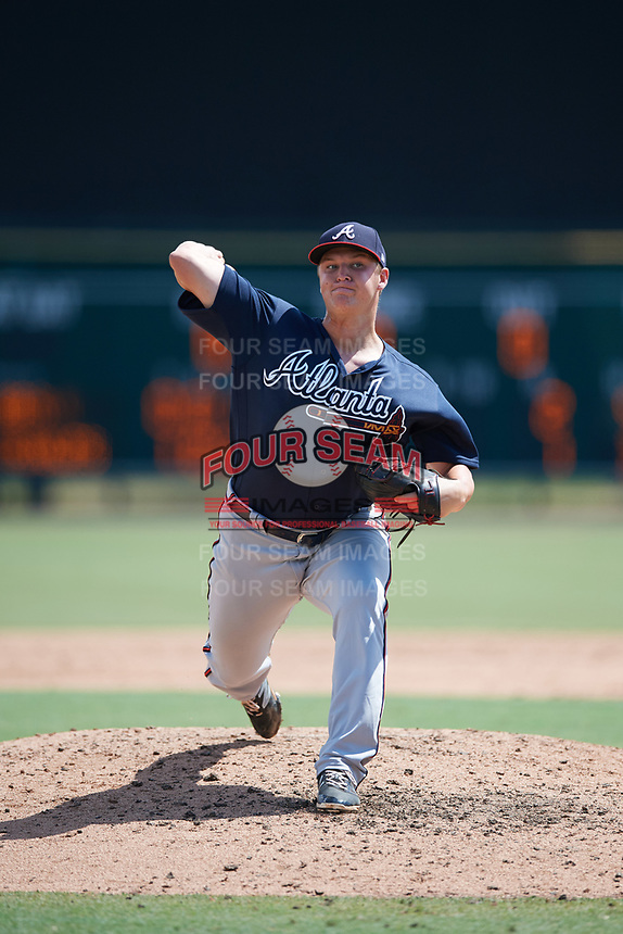 Atlanta Braves pitcher Jacob Webb (37) delivers a pitch during an Instructional League game against the Baltimore Orioles on September 25, 2017 at Ed Smith Stadium in Sarasota, Florida.  (Mike Janes/Four Seam Images)